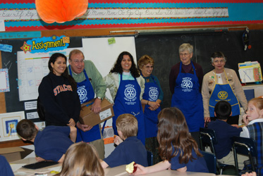 Members of the visiting GSE Team, Howard Tupper, Norma Widmann, Jacquie Olmsted, and Pat Booth visit with the 3rd Grade at St. Mary's Academy.