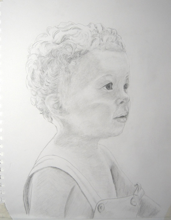 The final Kaya Portrait, in graphite